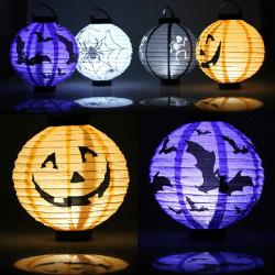 Halloween Pumpkin Paper Lantern Decoration Supplies Bat Spider Skull