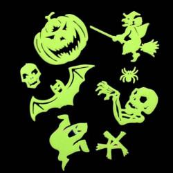 Halloweenpumpor och Spöke Witch Noctilucent Glow Vägg Art Stickers
