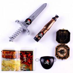 Halloween Cosplay Pirates Klänning Knife Karta Compass Telescope