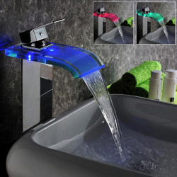 LED Temperature Control Waterfall Bathroom Sink Faucet Glass Spout