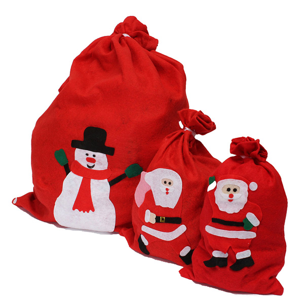 Lovely Santa Claus Red Stocking Fabric Bag Christmas Gift Bag Festival Gifts & Party Supplies