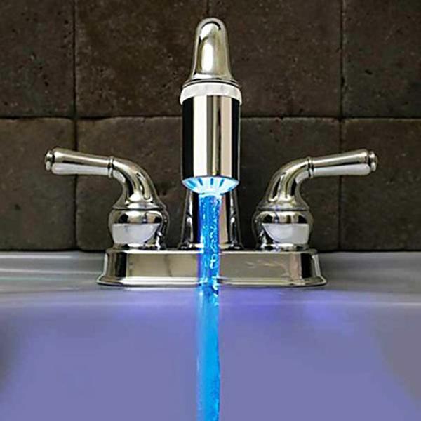 Nein Batterie Wasser Hahn Glühen LED Temperaturfühler Hahn Armaturen