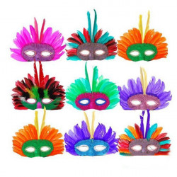 Stilfuld Dance Parter Fjer Eye Mask til Halloween