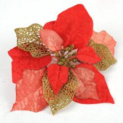 Tre Layer Rød Gold Powder Blomst Juletræ Dekoration Supplies