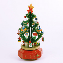 Wooden Christmas Tree Rotating Music Box Christmas Gift Decorations