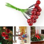10er künstliche rote Frucht Kirsch Holly Beeren Weihnachtsdekoration Gartengeräte