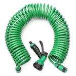 15M EVA Coiled Spiral Pipe Stretch Haveslange med Dyse Haveredskaber