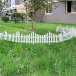 33cm Plast Vit Plug In Staket Trädgård Dekoration Fence