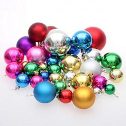 36stk Weihnachtsdekoration Hängende Bälle Mischfarbe und Größe Flitter
