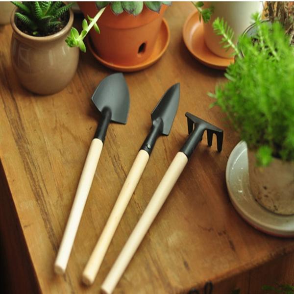 3st Mini Spade Rake Spade Trähandtag Metall Huvud Tool Garden Trädgårdsredskap