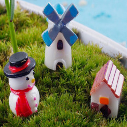 3stk Mini DIY Mikro Landschaft Schneemann Windmill House Microlandschaft Decor