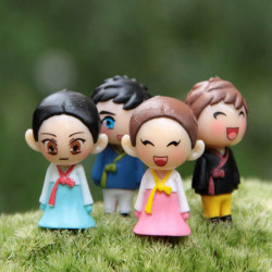4st Mini Hanbok Par Docka Micro Landskaps Dekorationer DIY Inredning
