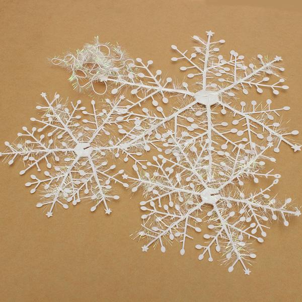 6stk weiße Schneeflocken, Weihnachtsdekorationen Garden Hanging Ornaments Gartengeräte