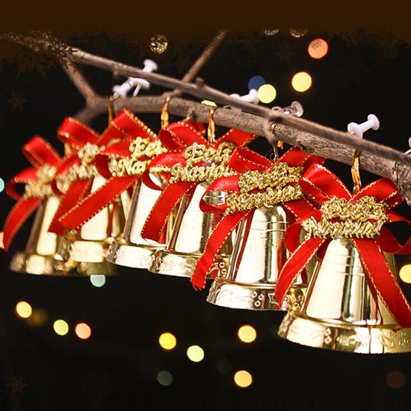 6stk Jul Gold Bell Bow Hjem Have Bøjle Ornament Bells Haveredskaber