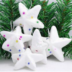 6pcs Christmas Tree Decoration White Star Hanging Ornaments