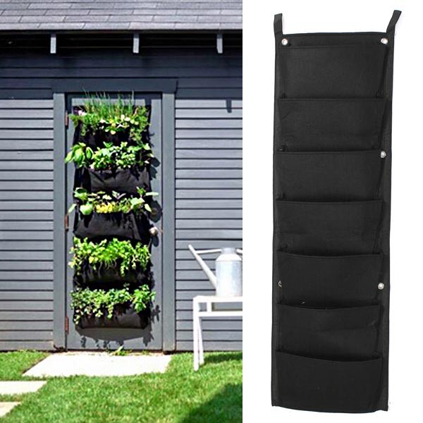 7 Taschen Innen Außen Wandbehang Pflanzer Taschen Anlage wachsen Taschen Gartengeräte