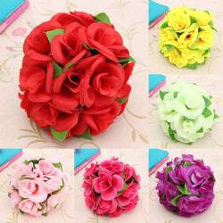Artificiell Bröllop Silk Rose Blomster Boll Med Löv Party Heminredning