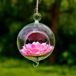 Kugel Form hängende Glasvasen mit Haken Blumentopf Garten Decor
