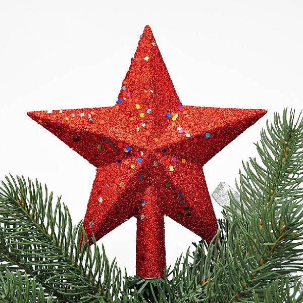 Jul Röd Paillette Stjärna Treetop Decor Julgrantop Dekoration Trädgårdsredskap