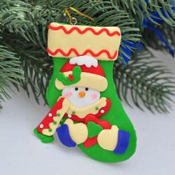 Netter Polymer Clay Schneemann Weihnachtsstrumpf hängende Dekoration