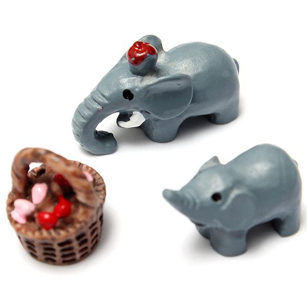 DIY Craft Landscape Animal Elephant Family Potted Plant Garden Decor Gardening
