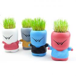 DIY Mini Stygg Docka Gräs Huvud Plantor Pot Dekor