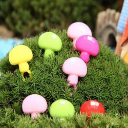 DIY Miniatyr Färgglada Svamp Ornament Krukväxt Trädgård Decor