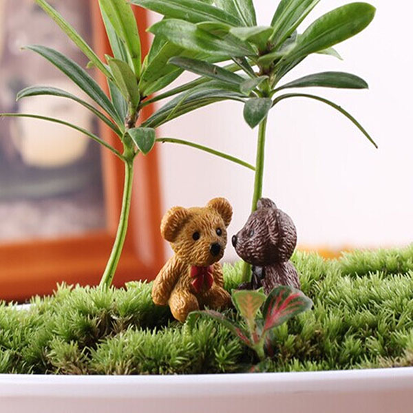 DIY Miniature Cute Bear Ornaments Potted Plant Garden Decor Gardening
