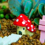 DIY Miniature Svamp House Ornament Krukväxt Trädgård Decor Trädgårdsredskap