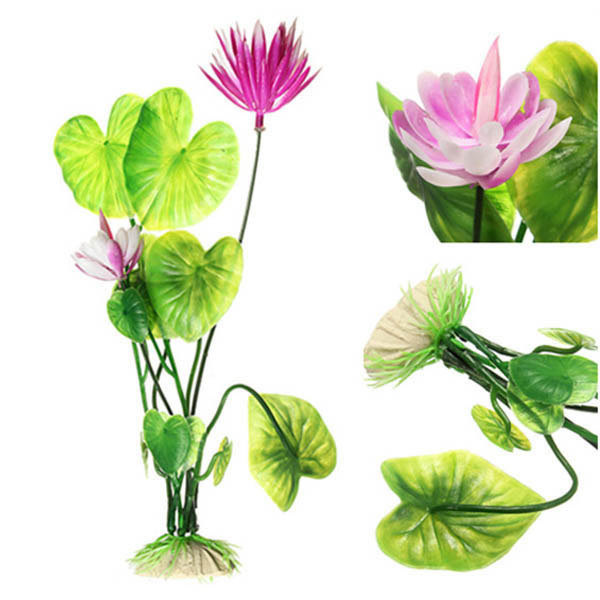 Fish Tank Decoration Artificial Lotus Grass Plastic Plant Gardening