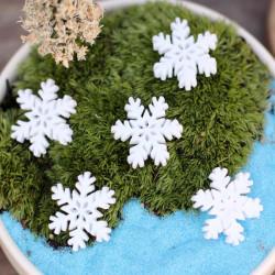 Trädgårds Micro Landskaps DIY Vit Harts Snöflinga Dekorationer