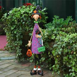 Halloween Decoration Cartoon Smiling Purple Girl Garden Yard Ornament