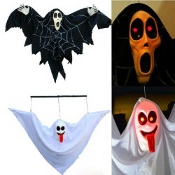 Halloween Props Acoustic Control Glowing White Black Ghost Yard Decor