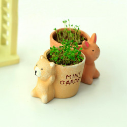 Mini Cute Animals Desktop Ceramic DIY Green Potted Plants