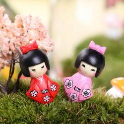 Mini Söt Kimono Flicka Trädgård Micro Landskaps Dekorationer
