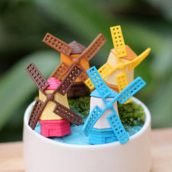 Mini Söt Windmill Micro Landskap Trädgård DIY Dekoration