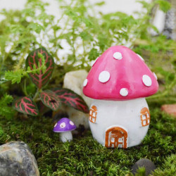 Mini Mushroom House Micro Landscape Decorations Garden DIY Decor