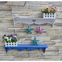 Rectangle Wall Mounted Garden Flower Shelf Racks Coat Hooks Home Yard Decor
