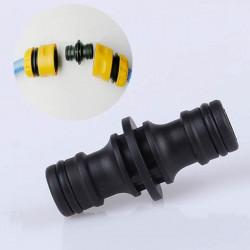 Water Pipe Two-way Nipple Joint Hose Plastic Black Connector Fitting