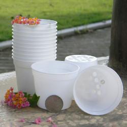 Weiße runde Blumentopf aus Kunststoff Garten Blumentopf