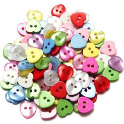 100stk 12mm mischte Farben 2 Loch Glänzend Harz Herz Buttons