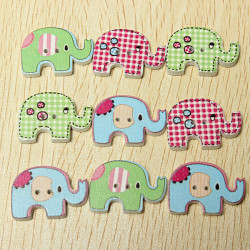 100stk mischte bunte Gemälde Elefant Holz Buttons Sewing Craft