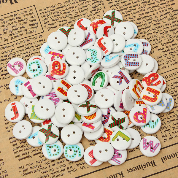 100Pcs Mixed Painted Letter Alphabet Wooden Button Sewing Scrapbooking Home Textiles