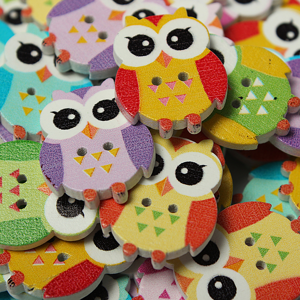 100pcs 2 Holes Multi Color Cute Owl Pattern Wooden Buttons Home Textiles