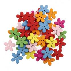 100stk Farverige Blomst Flatback Træknapper DIY Syning Craft