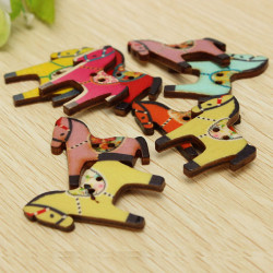 100pcs Mixed Horse Wooden Buttons Craft DIY Sewing Accessories