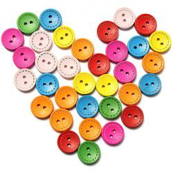 100stk gemischter Runde aus Holz Kinderbekleidung Sewing Buttons