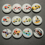 100pcs Mixed Transport Buttons 2 Holes Sewing Scrapbooking Craft DIY Home Textiles