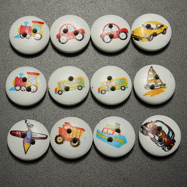 100pcs Mixed Transport Buttons 2 Holes Sewing Scrapbooking Craft DIY Home Textiles