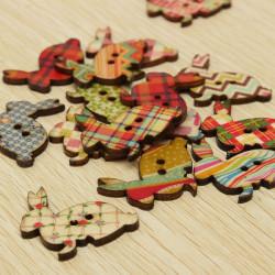 100st Kanin Shape Träknappar Craft DIY Sytillbehör